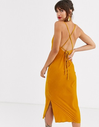 Asos Design DESIGN cami midi slip dress in velvet with lace up back-Yellow