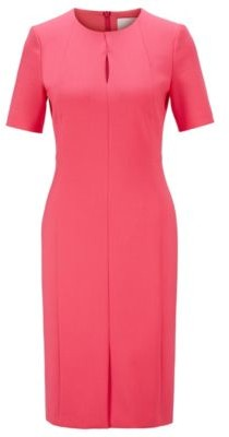 HUGO BOSS Pleat Front Shift Dress In Portuguese Stretch Fabric - Pink