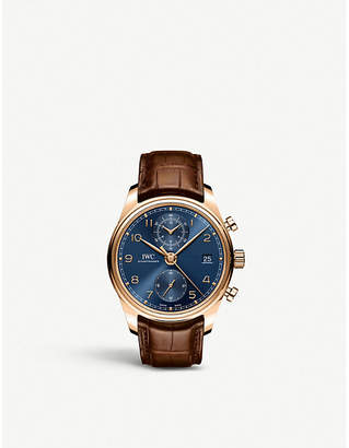 Rosegold IWC SCHAFFHAUSEN Portugieser rose-gold and alligator-leather leather watch