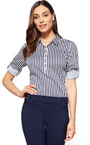 New York & Co. 7th Avenue - Madison Stretch Shirt - Popover - Stripe