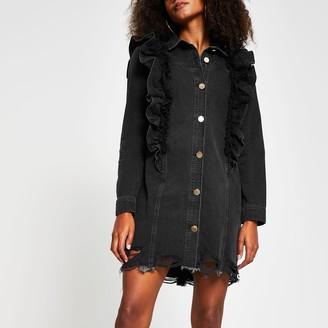 River Island Womens Black denim mesh frill shirt dress