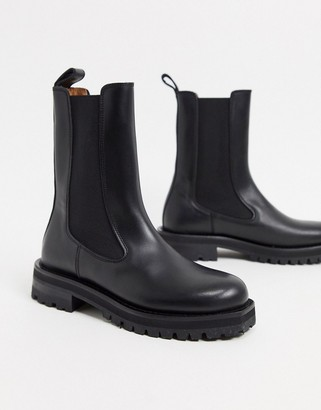 And other stories & leather tall chunky flat boots in black