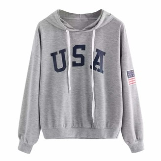 Lazzboy Womens Hoodie USA Flag Letter Print Sport Sweatshirt Solid Long Sleeve Hooded Hip Pop Tops Blouse(L(12)