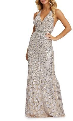 Mac Duggal Cheetah-Spot Sequin Gown