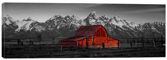 """iCanvas Barn Grand Teton National Park Wy Usa Color Pop by Panoramic Images Wrapped Canvas Print - 16"""" x 48"""""""
