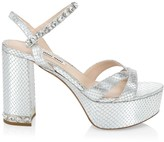 Miu Miu Jewelled Metallic Snakeskin-Embossed Leather Platform Slingback Sandals