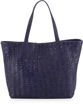 Neiman Marcus Woven Faux-Leather Reptile Tote Bag, Cobalt