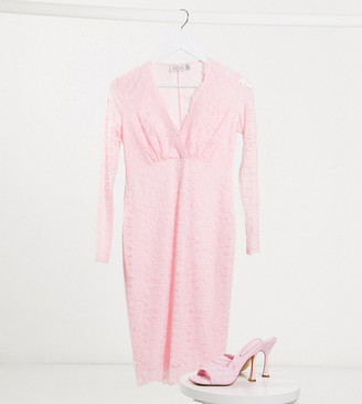 Blume Maternity long sleeve lace baby shower midi dress in baby pink