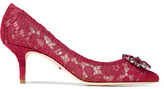 Dolce & Gabbana Swarovski Crystal-embellished Corded Lace And Mesh Pumps - Red