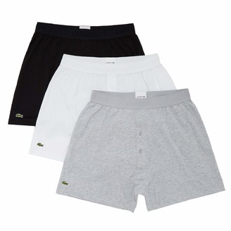 Lacoste Men's Essentials Classic 3 Pack 100% Cotton Knit Boxers