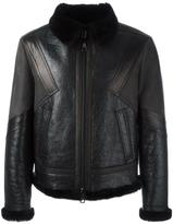 Neil Barrett panelled leather bomber jacket