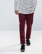Asos Tapered Chinos In Burgundy
