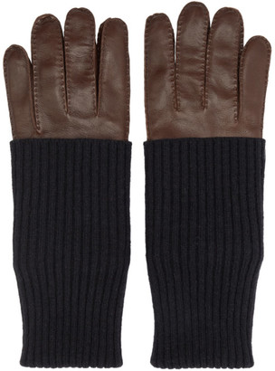 Ami Alexandre Mattiussi Brown Leather Gloves