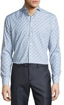 Eton Paisley & Dot Long-Sleeve Sport Shirt, Blue