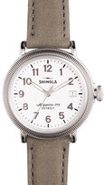 Shinola 38mm Runwell Coin-Edge Leather Strap Watch, Heather Gray