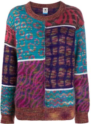 M Missoni Panelled Print Round Neck Jumper