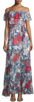 Nicholas Off-The-Shoulder Paisley-Print Maxi Dress, Red Pattern