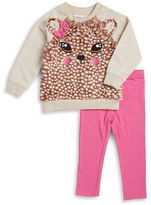Kids Headquarters Girls 2-6x Faux Fur Accented Pullover and Leggings Set