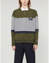 HUGO Colour-blocked text-print cotton-jersey sweatshirt