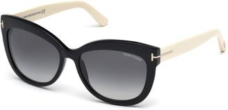 Tom Ford Alistair Two-Tone Squared Cat-Eye Sunglasses, Black/Cream