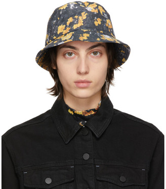 McQ Grey and Yellow Ripstop Beach Hat