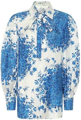 Valentino Printed silk-twill blouse