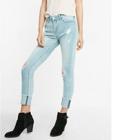 Express mid rise distressed stretch+supersoft cropped jean leggings