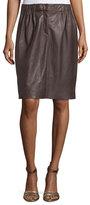 Halston Gathered Leather Skirt