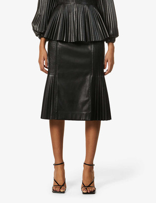 Huishan Zhang Bibi faux-leather midi skirt