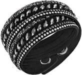 Swarovski Slake Pulse Black & White Crystal Leather Wrap Bracelet 5225974