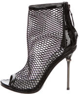 Brian Atwood Mesh Peep-Toe Ankle Boots