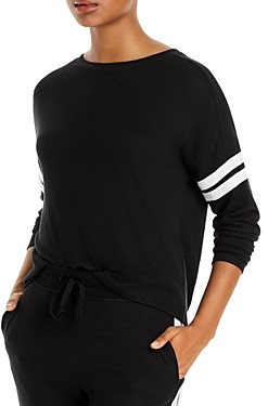 Aqua Athletic Stripe Sleeve Knit Sweatshirt - 100% Exclusive