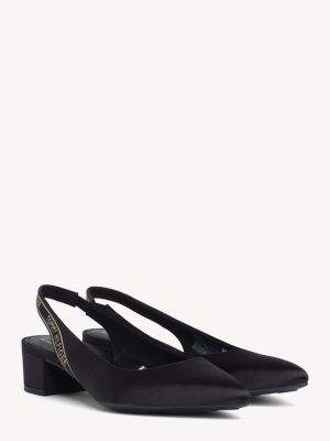 Tommy Hilfiger Pointed Satin Mid-Heel Slingbacks
