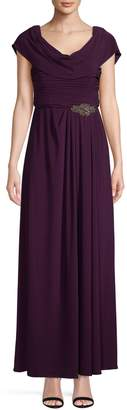 Alex Evenings Cowlneck Embellished Gown