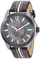 ESQ Men's Stainless Steel Watch w/ Gunmetal Case and Leather Strap FE/0093