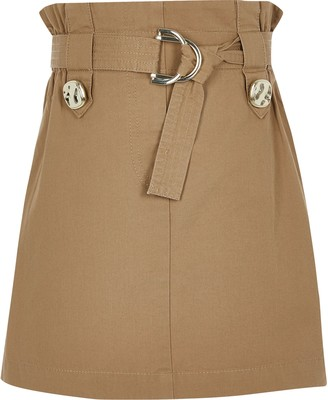 River Island Girls Beige Tab Utility Skirt