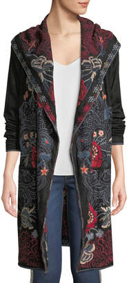 Johnny Was Petite Bella Hooded Open-Front Embroidered Cardigan
