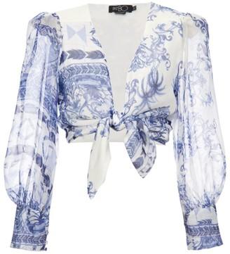 PatBO Amalfi Printed Tie-Front Blouse