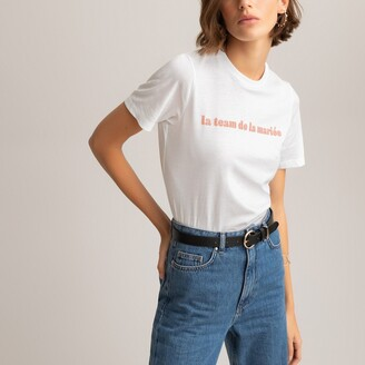 La Redoute Collections Cotton Crew Neck T-Shirt with Bride Team French Slogan