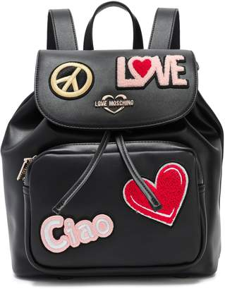 Love Moschino Appliqued Faux Leather Backpack