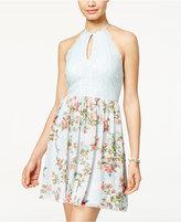 Speechless Juniors' Lace Floral-Print Halter Dress