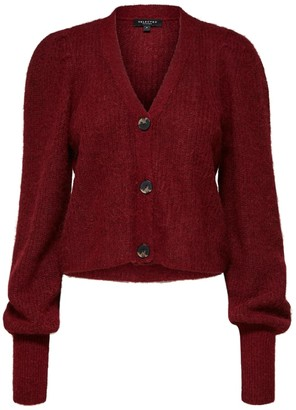 Selected Cabernet Cropped Knitted Deep Red/Wine Cardigan With V-Neck And Extra Long Sleeves - xs