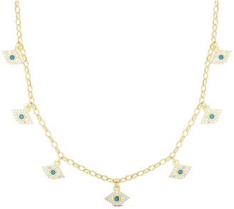 Sphera Milano 14K Over Silver Cz Evil Eye Necklace