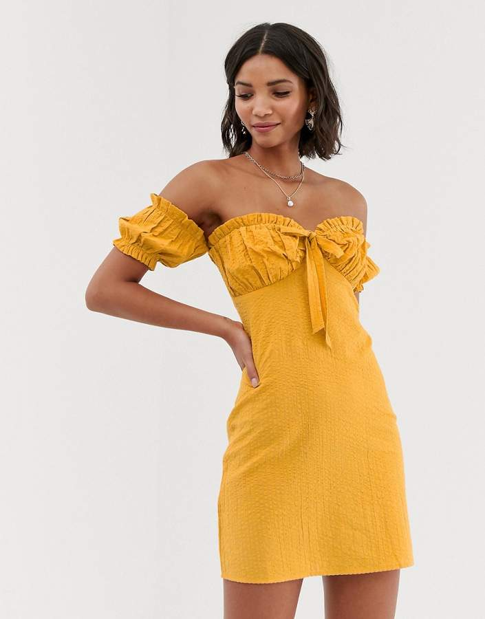 Asos Design DESIGN off shoulder mini sundress with tie