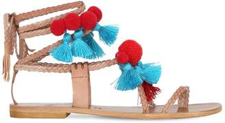 Couture Gia 10mm Pompoms & Tassels Leather Sandals
