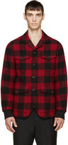 DSQUARED2 Red & Black Wool Canadian Blazer
