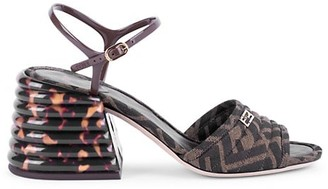 Fendi Logo Block-Heel Sandals