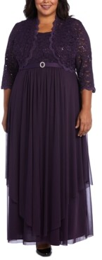 R & M Richards Plus Size Embellished Gown & Lace Jacket