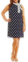 London Times Plus Polka-Dot High-Neck Bow-Tie Shift Dress