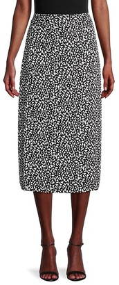 Pure Navy Floral-Print Pencil Skirt